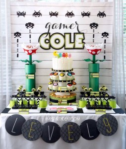 game truck party ideas - video game party ideas - dessert table